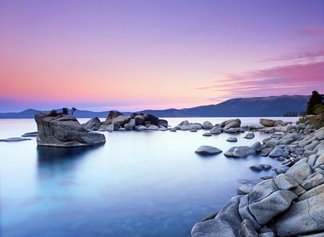 The unseen beauty of Bonsai Rock of Lake Tahoe is located a little south of Sand Harbor, it is on the east side of Lake Tahoe the Nevada side, USA.