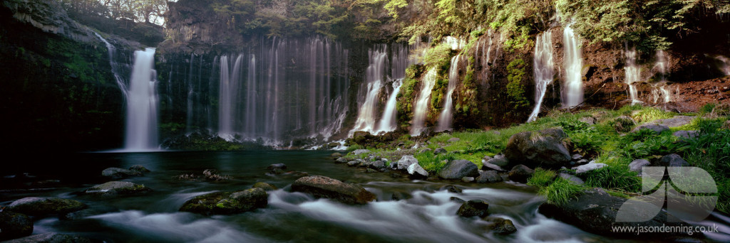 Shiraito Falls is a fall where spring water of Mt.Fuji flows down in hundred of threads surface of 20 meters high & 200 meters wide rock wall