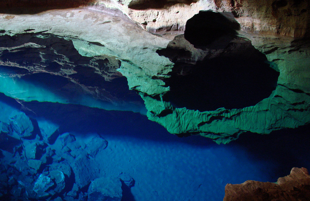 The Enchanted Well also called Poco Encantado located in Chapada Diamantina National Park in Bahia, Brazil approximately 400 KM inland from Salvador..