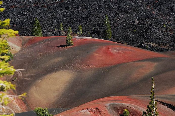 These Colorful Dunes of Lassen National Park formed out of oxidized volcanic ash layers, are one of the highlights of in Northern California.