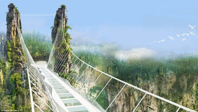 China has frightening walkway, stretching a quarter-of-a-mile across a canyon at a dizzying height of 980ft of Glass Bottomed Bridge.