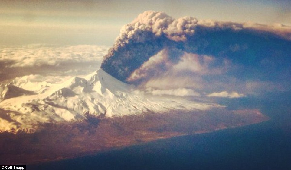The Pavlof volcano erupting on the Aleutian Islands in Alaska yesterday. The eruption sent plumes of smoke 20,000 feet into the air