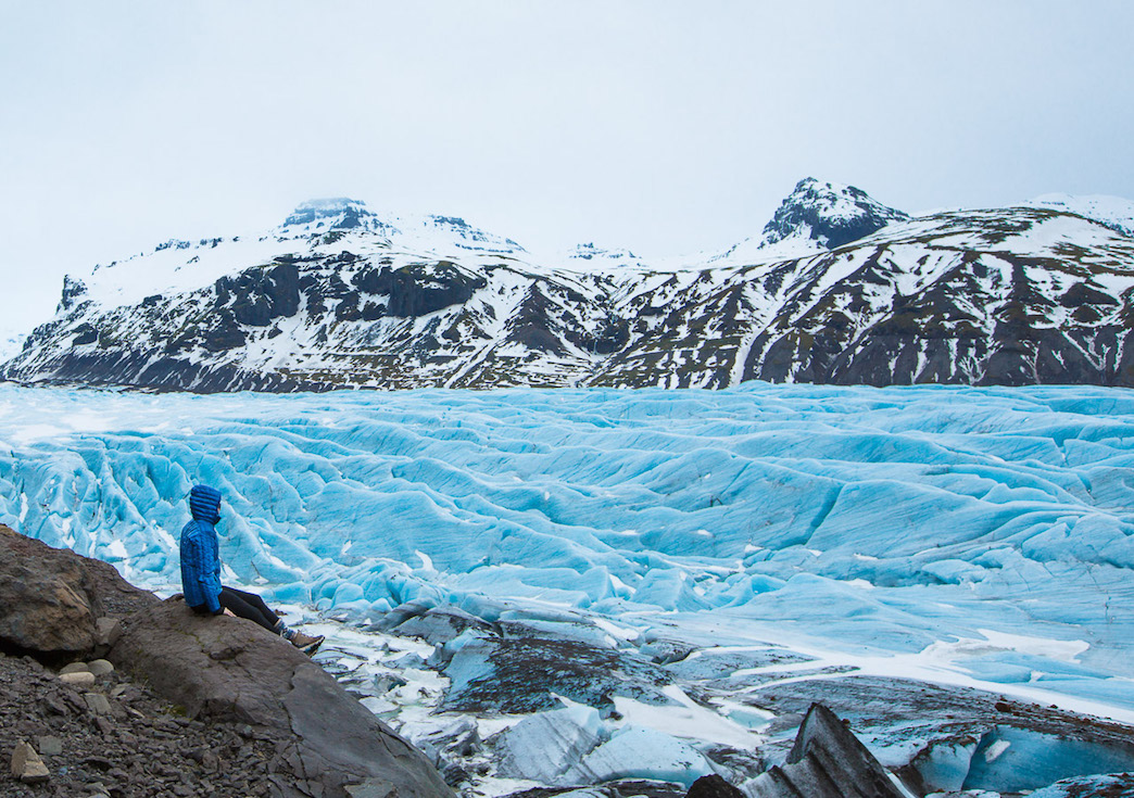 The blue of the Svínafellsjökull Glacier in the Skaftafell section of Vatnajökull National Park transported to another planet and the color of the ice Photo Credit Elisabeth Bren
