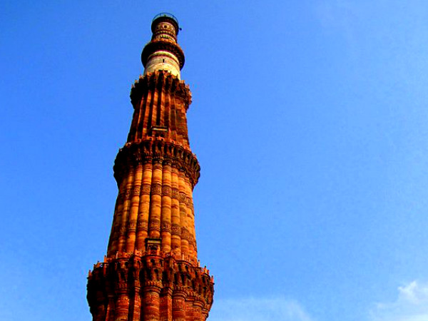 A 73 meter tall, 14.3 meters base diameter Qutub Minar is forms in the Mehruali Area of Dehli India.