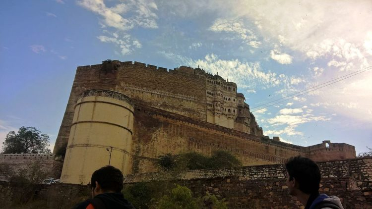Mehrangarh Fort built around 1460, situated 410 feet above the city and is enclosed by striking thick walls.
