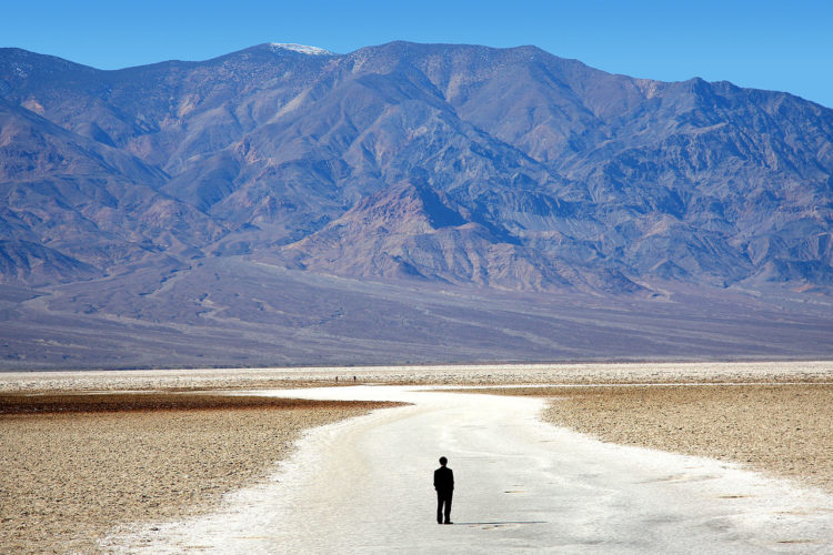 At Badwater Basin, significant rainstorms flood the valley bottom periodically, well covering the salt pan with a thin sheet of standing water.