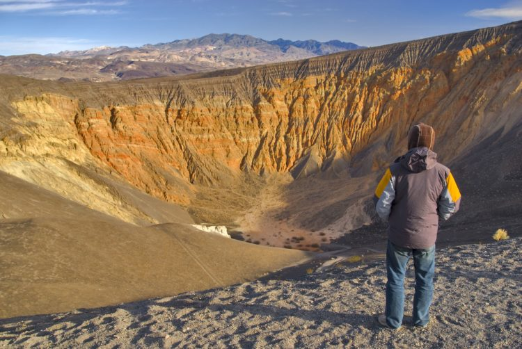 The Uhehebe Crater is one kilometer wide and 777 feet deep. Ubehebe Crater is a maars volcano.