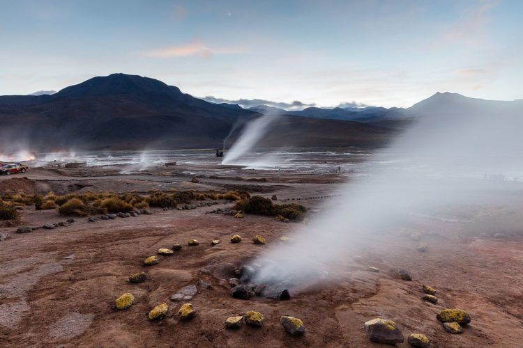 El Tatio is a geyser field located within the Andes Mountains of northern Chile along the border between of Bolivia.