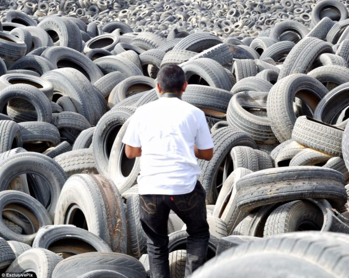 It is believed that tyres of other countries and Kuwait have paid for them to be taken away - four companies are in charge of the disposal and are idea to make a substantial amount from the disposal fees.