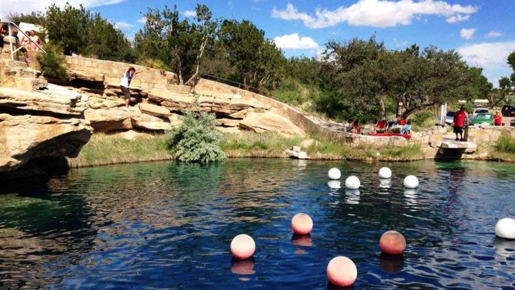 On the east of Santa Rosa, there's bell-shaped pool called Blue Hole located off Route 66 in New Mexico.