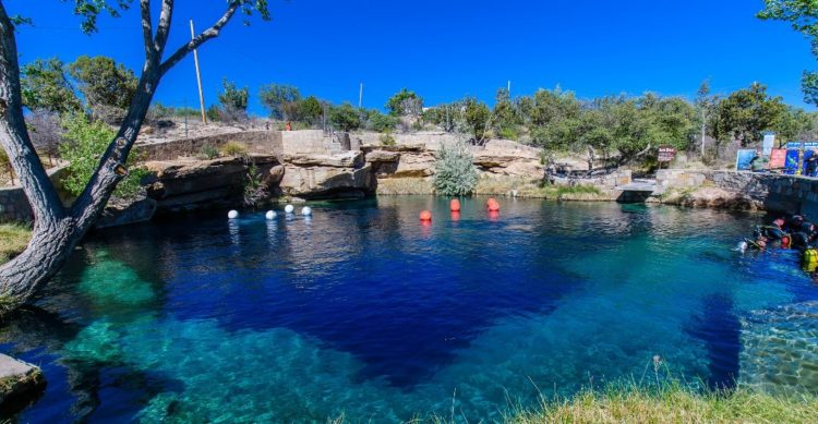 The arid climes is a natural swimming hole that has a hidden system of underwater caves which were unexplored until 2013.