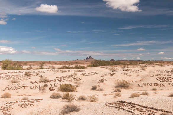 The different sizes and shapes of rocks have taken many years to take in 10,000 names embedded in the desert floor maintained by the BLM (Bureau of Land Management).