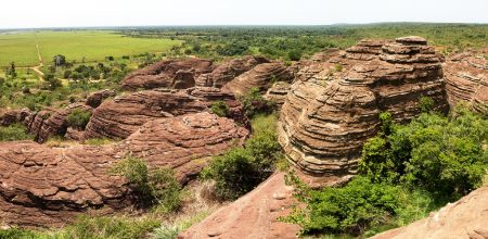 The sandstones comprising the Domes of Fabedougou are approximately two billion years old or Middle Proterozoic.