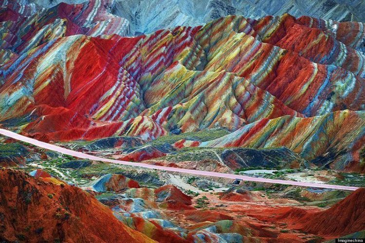 But believe it or not this Technicolor range actually exists. It is located inside of the Zhangye Danxia National Geopark 30km west of Zhangye City, Gansu Province, China. Source: Huffington Post