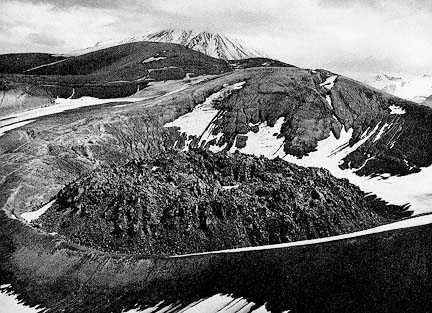 Novarupta is a pumice-filled depression that was the vent for the 1912 eruption. Photo by Jay Robinson, National Park Serive.
