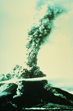 Nue ardentes were recorded at 18 of these eruptions. Twelve eruptions have caused fatalities. Photograph by Jim Moore, U.S. Geological Survey, April, 1968.