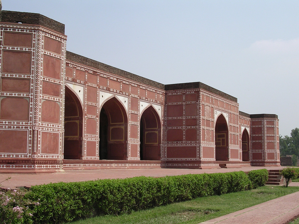 The beautiful red sandstone mausoleum, is located in Shahdara Bagh, across the River Ravi from Lahore.