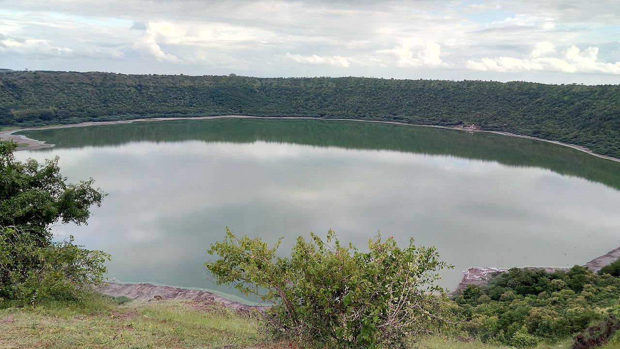 The lake water contains various salts or sodas, and during dry weather when evaporation lessens the water level, large quantities of soda are collected.