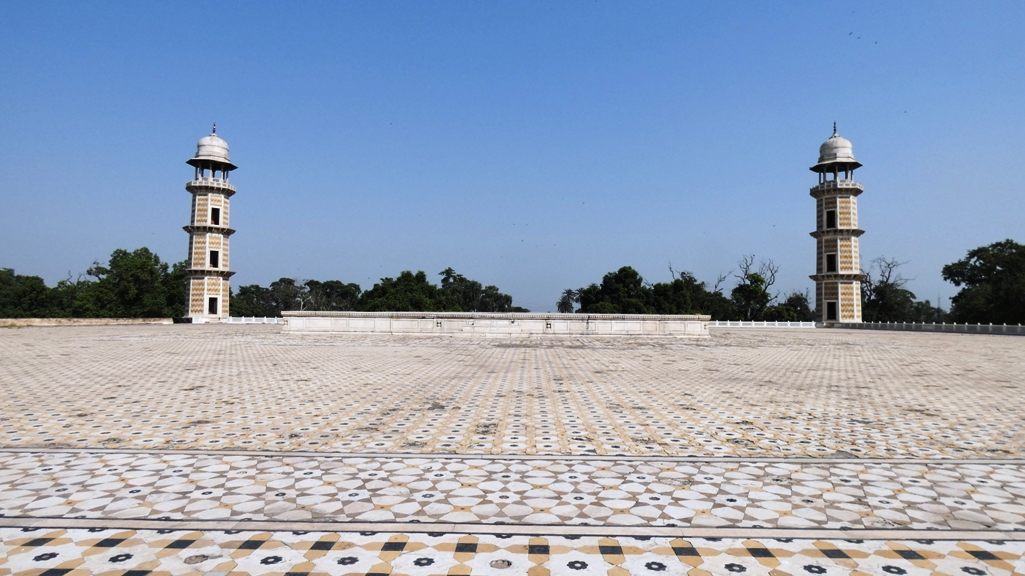 The square shaped mausoleum's is 22 foot tall and roof is embellished with marble.