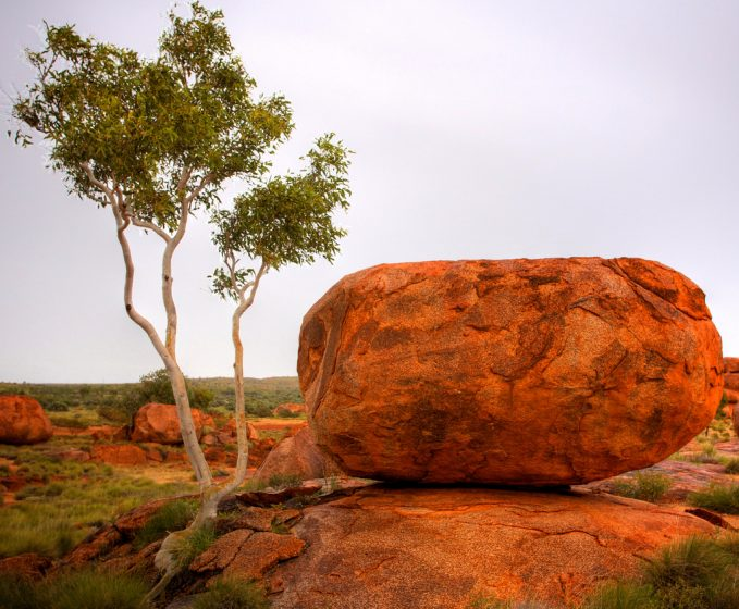 Devil's Marbles or Karlu Karlu, are a collection of giant granite boulders strewn across a shallow valley.