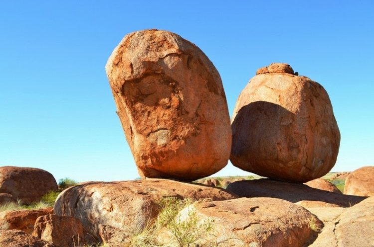 The Devils Marbles started out, several million years ago, when an upsurge of molten rock penetrated the ground from below.