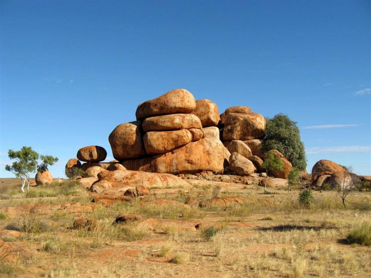 Devil's Marbles are recognized by the local Warumungu Aboriginals. It is located almost 100 KM south of Tennant Creek in the Northern Territory, Australia.