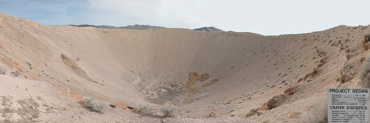 Sedan Crater comes into existence of Sedan Nuclear Test. This Crater is located within the Nevada Test Site twelve miles of Groom Lake.