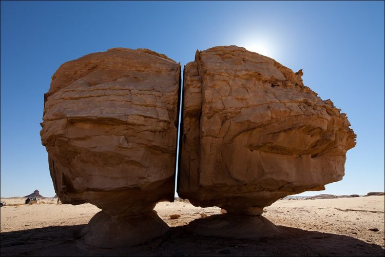 The Al Naslaa Rock formation may puzzle you to see two standing stones and flat faces are completely in natural shape.