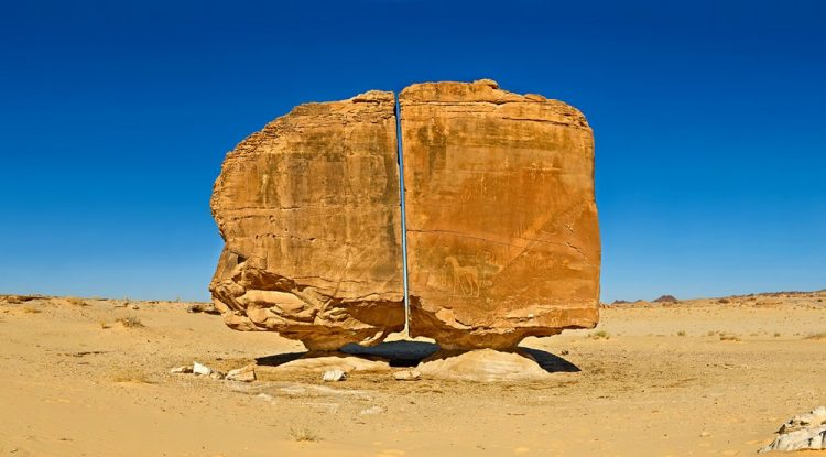 Al Naslaa Rock is most photogenic petroglyphs in Tayma about an eight-hour drive out of Riyadh.