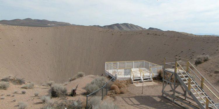 Observation decks at Sedan Crater