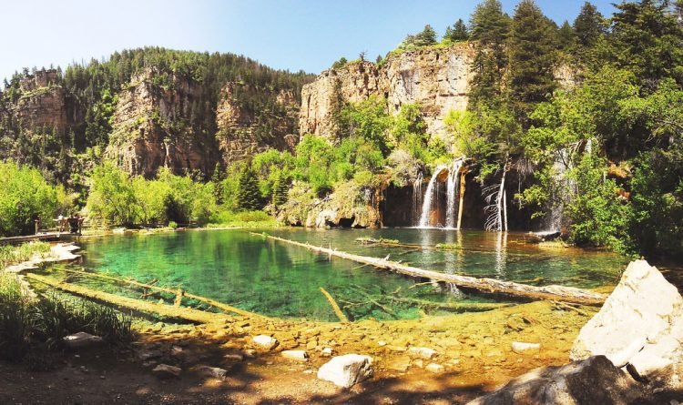 this is a popular stop for those willing to take a short but steep hike to see the trout-filled, glacially formed watery haven seemingly suspended from the side of the canyon.