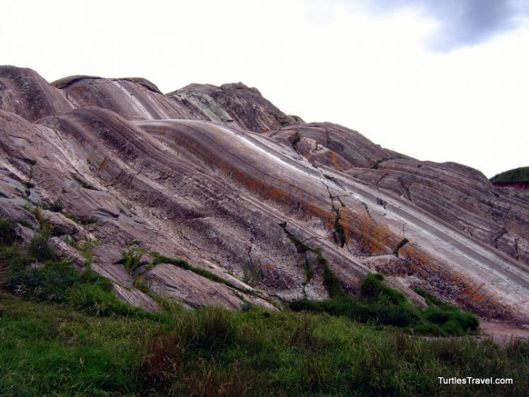 These are manmade natural slides that undulate their way down the hill.