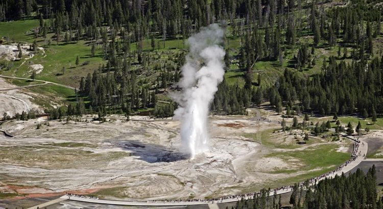 This was the first geyser to name in the park in 1870. Old Faithful is a very predictable geothermal geyser, as it erupted every 44 to 125 minutes.