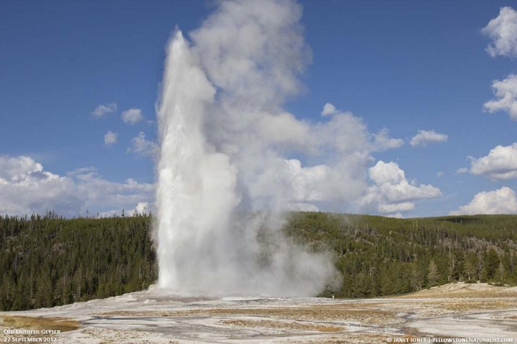 The boiling water being thrown from 90 to 125 feet at discharge lasted 15 to 20 minutes. So, they give the name to Old Faithful.