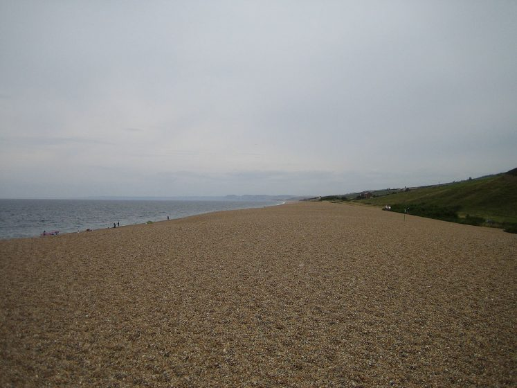Looking west down Chesil Beach by Abbotsbury