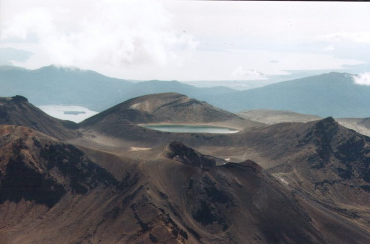 The andesitic eruptions formed Tongariro, a steep stratovolcano, reaching a height of 6,490 ft.