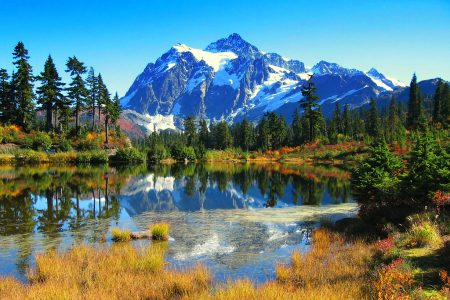 Mount Shuksan is the highest point on the three sided peak known as Summit Pyramid.