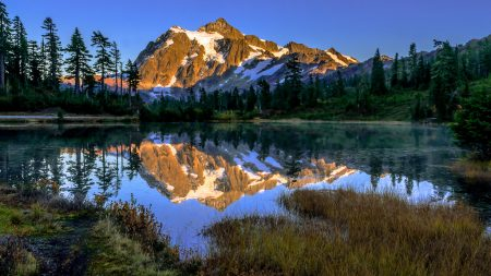 Mt. Shuksan is one of the highest non-volcanic peaks 9,127 feet. A strikingly beautiful peak, it is the most frequently photographed mountain in the United States.