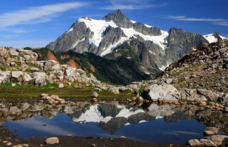 West side view of Mount Shuksan in summer as seen from Artist Point