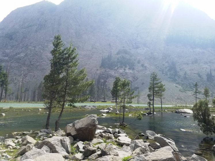 The gorgeous crystal-clear lake is about 40 KM from Kalam in the Ushu Valley of the Swat District, KPK, (Khyber-Pakhtunkhwa) at an elevation of 9,400 feet.