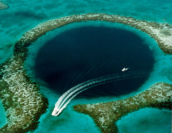 The Great Blue Hole, located near Ambergris Caye, Belize