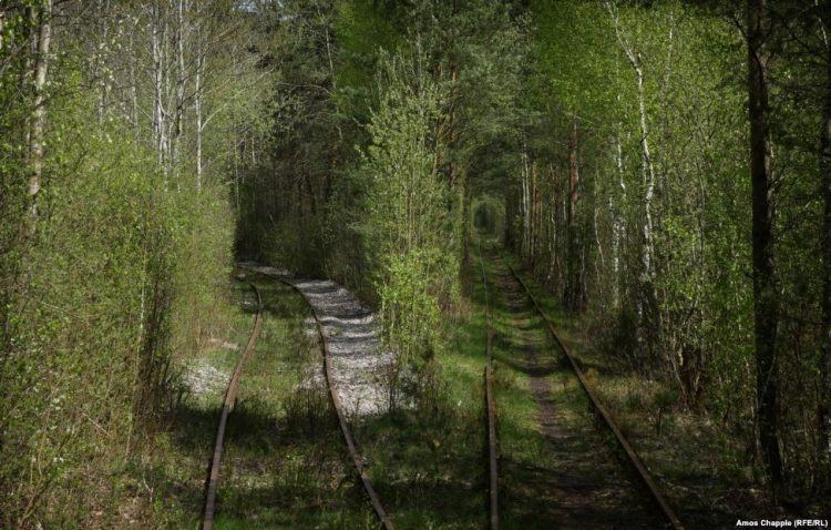 The line on the left runs to the military base. The line on the right leads to Klevan.