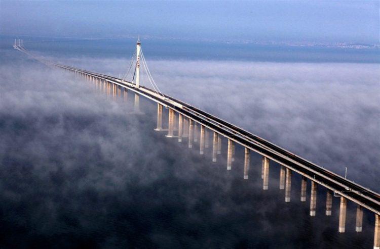 The T-shaped Jiaozhou Bay Bridge is a 26.7 km long roadway bridge in eastern China's Shandong province.