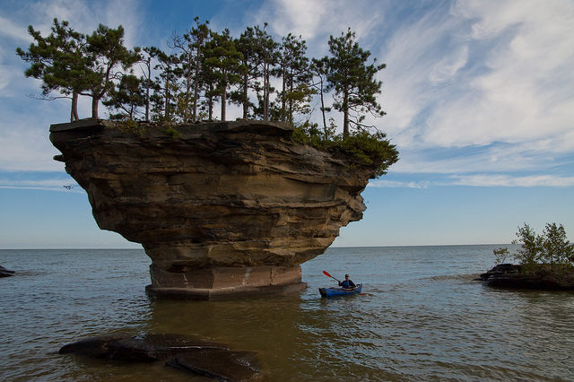 Turnip Rock is a beautiful geological formation in Michigan.
