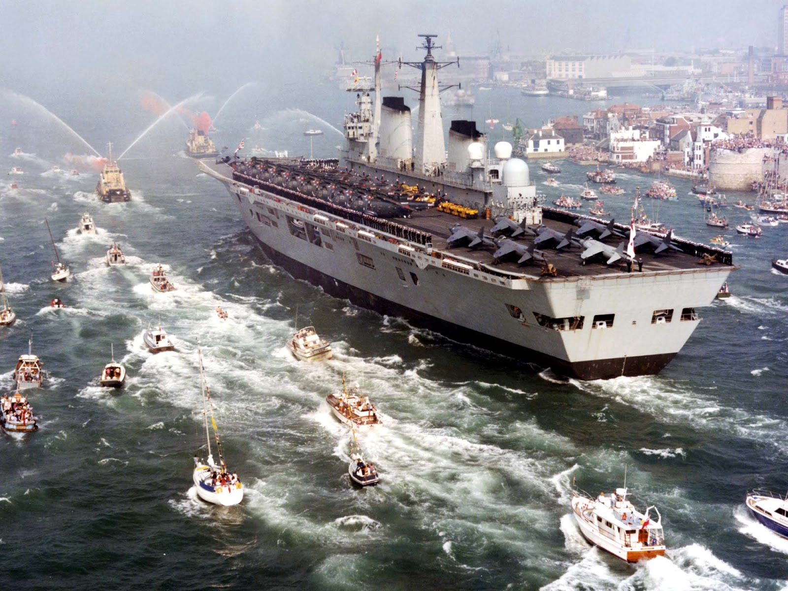 HMS Invincible returns home following the Falklands War, 1982