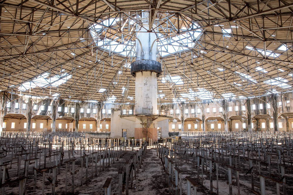 The interior of the mess hall. Photo Credit - Atlas Obscura