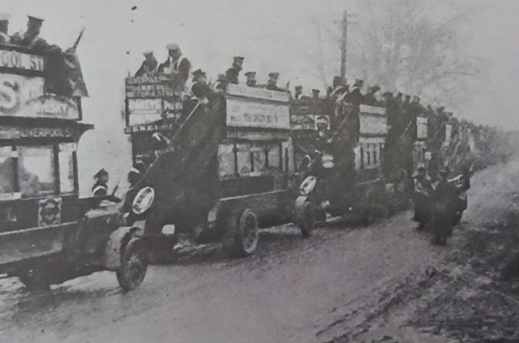 London Omnibuses carrying troops to the front. In the early days military transport consisted  of hotch-potch of public and private vehicles. For many decades, London buses carried their advertisement and destinations.