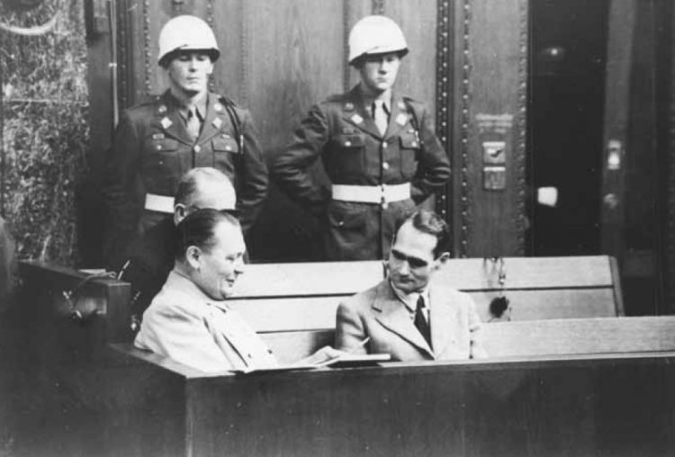 Hermann Göring and Rudolf Hess at the Nuremberg Trials.