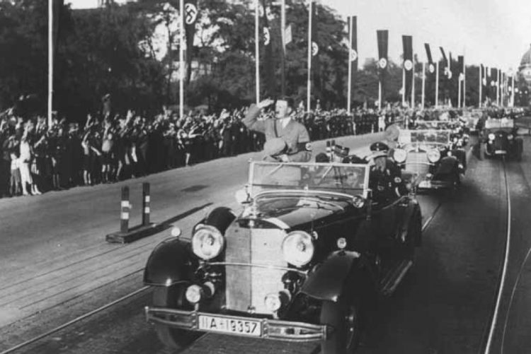 Hitler's motorcade through Nuremberg.