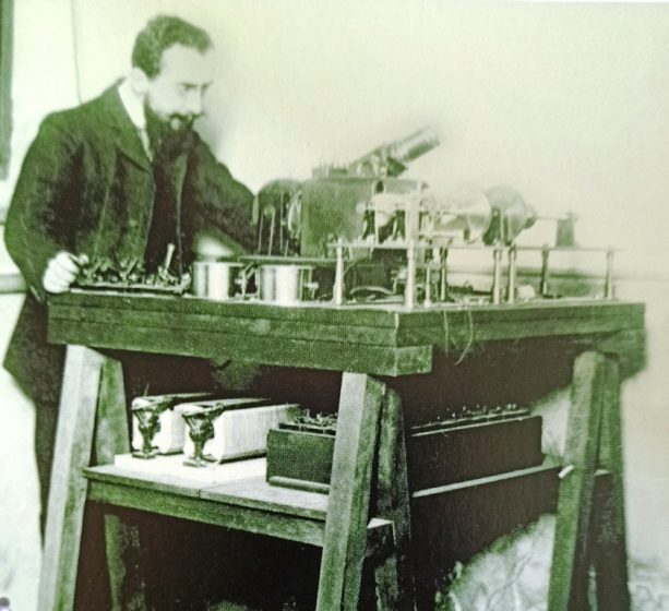 Photo Copy Pioneer - Edoward Belin receiving a transmission on an early version of his telephoto machine.